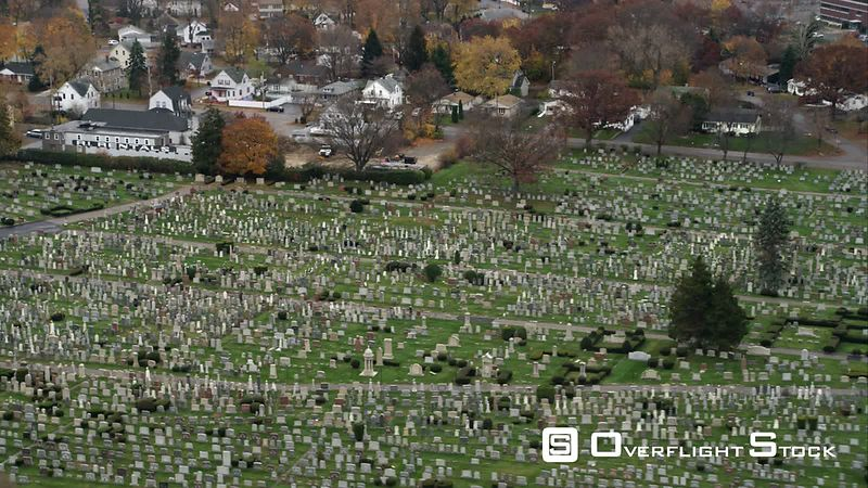 Over Cemetery in Providence, Rhode Island. Shot in November