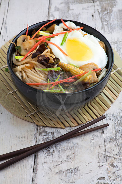 Egg noodles with shiitake mushrooms