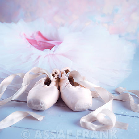 Ballet shoes and elegant ballet dress