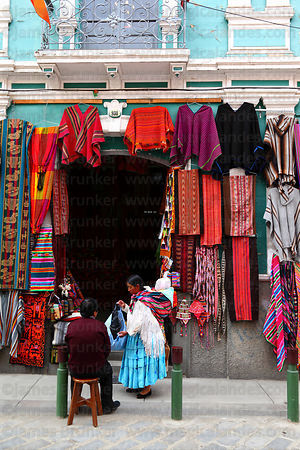 Shop selling ponchos and textiles in Calle Linares, La Paz, Bolivia