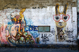Mural of llama wearing heart shaped glasses and ticket window on wall of Bolivar stadium, La Paz, Bolivia