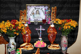 "Detail of altar or ""mast'aku"" with offerings in family home for Todos Santos festival, Bolivia"