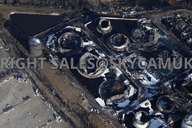 Buncefield fire aerial photography of the Buncefield Oil Depot Hemel Hempsted Hertfordshire after the fire devastated the fuel depot in 2005