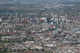 Birmingham high level  aerial photograph looking down MacDonald street across the city towards the National Indoor arena