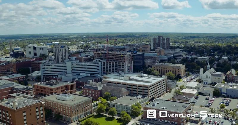 Drone Video Cityscape Kalamazoo Michigan