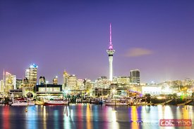 Auckland city and harbour at dawn, New Zealand