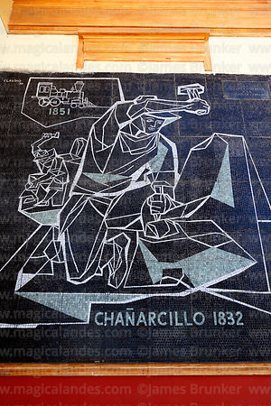 Mosaic commemorating discovery of silver deposits at Chañarcillo in 1832, Copiapó, Region III, Chile