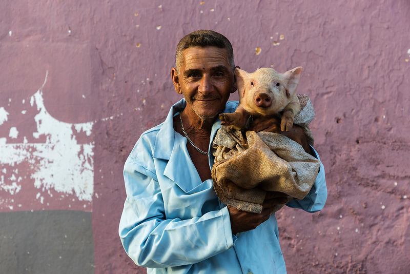 Portrait of a Man Holding a Small Pig