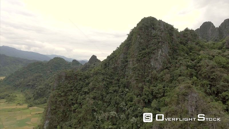 Mountainous Terrain Near Village of Vang Vieng Laos