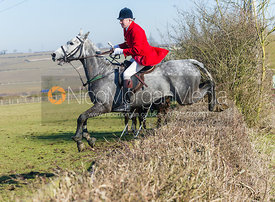 Andrew Osborne MFH jumping a hedge near the meet