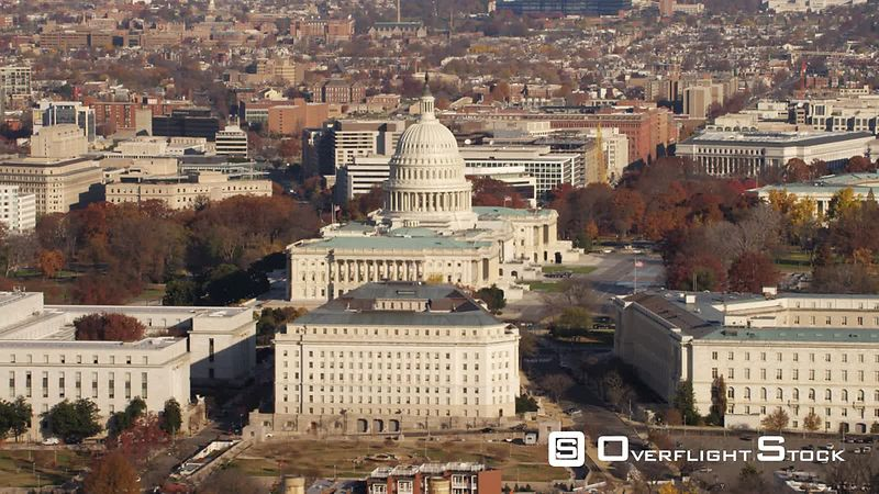 Flying Over Capitol Hill from South Capitol Street to Pennsylvania Avenue With Rayburn House Office Building in Front of Capitol.