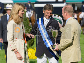 Andrew Nicholson, Miranda Rock (President) and Jeremy Hicks (Land Rover UK) - The Prize Giving, Burghley Horse Trials 2014.