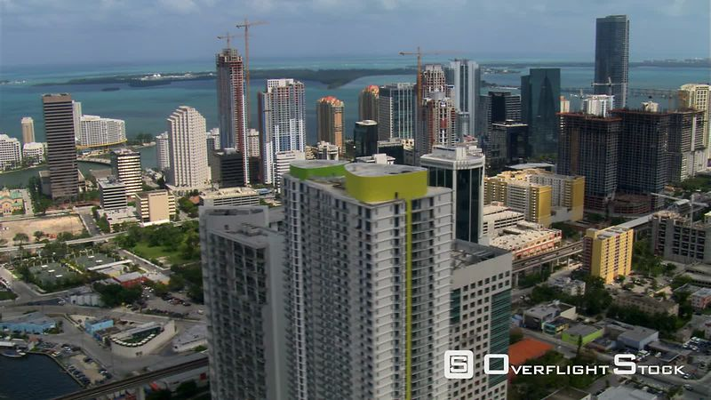 Flight over Miami to view of Four Seasons Hotel.