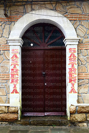 Entrance of sasteria / tailor's shop, Tarija, Bolivia