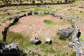 Stone circle with intihuatana, probably from Inca period, Sillustani, Peru