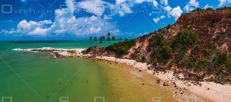 Swimmers and Sunbathers on a Tabatinga's Beach, Conde Paraiba Brazil