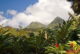 View of Piton du Carbet volcanic mountains in Martinique