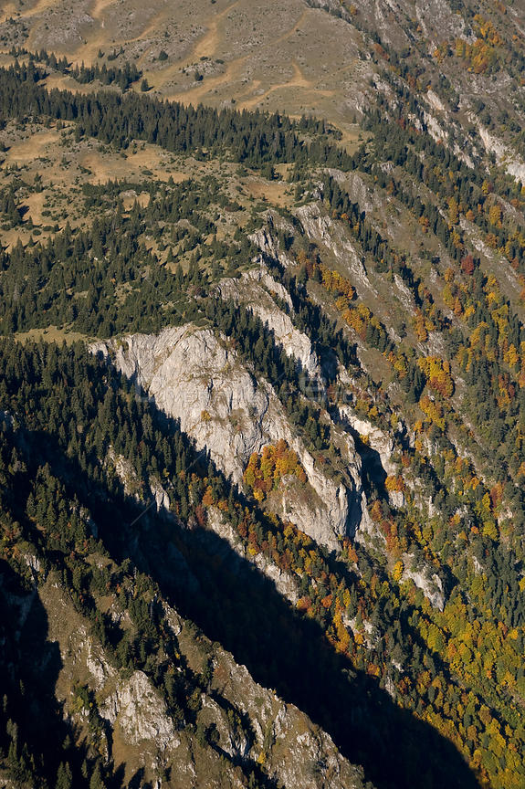 Aerial view of the edge of Tara Canyon, Durmitor NP, Montenegro, October 2008