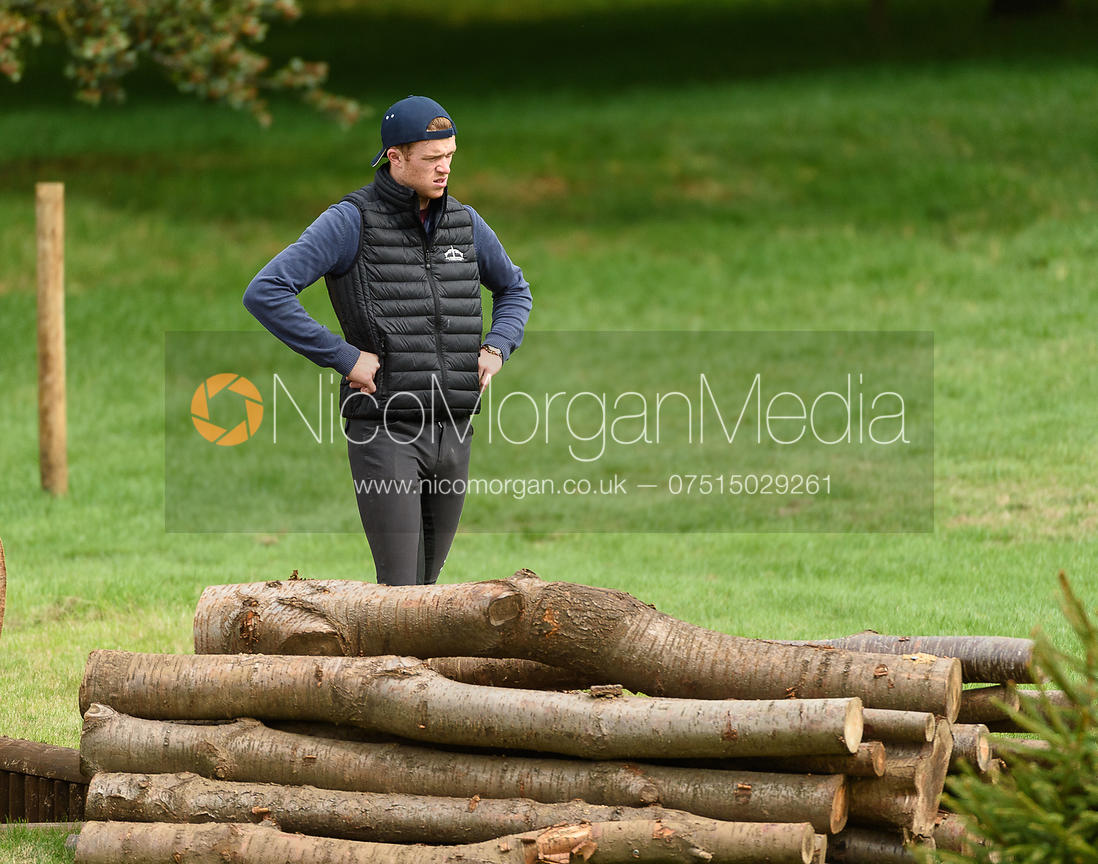 Sam Ecroyd walking the course at  Land Rover Burghley Horse Trials 2018