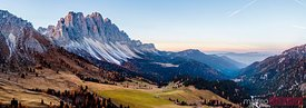 Aerial panoramic of Odle peaks at sunrise, Dolomites, Italy