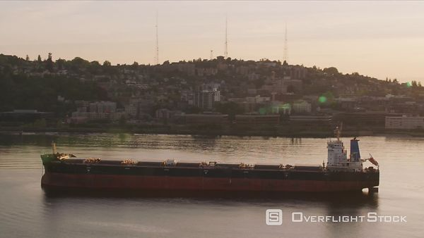 Seattle, Washington Large ship in front of Seattle skyline at sunrise.  Shot with Cineflex and RED EpicW Helium.