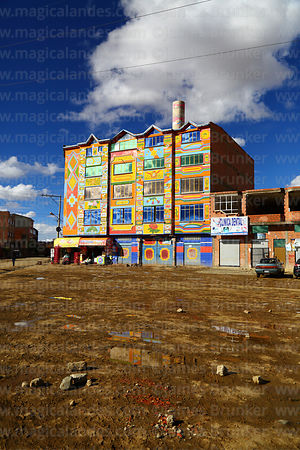 Brightly painted building in Senkata district, El Alto, Bolivia