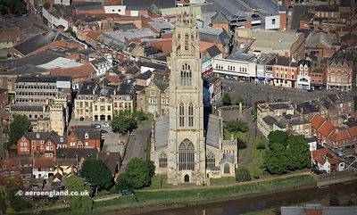 "St Botolph's Church, Boston Lincolnshire, England UK. aka the  ""Boston Stump"" aerial photograph"