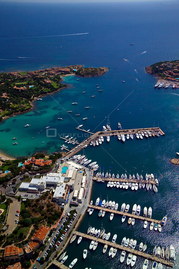 Aerial view of Porto Cervo marina, Sardinia, Italy. ^^^The Port was once the haunt of the international jetset.