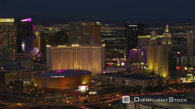 Las Vegas, Nevada Aerial view of T Mobile Arena and Las Vegas Strip.  Shot with Cineflex and RED EpicW Helium.