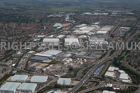 Birmingham high level aerial photograph of the Esso Fuel Terminal Wood Lane Fort Dunlop