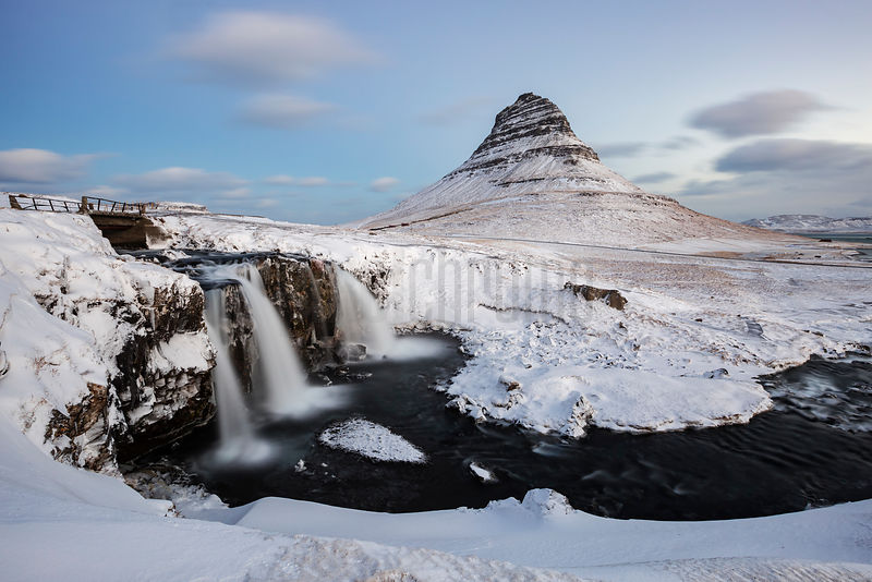 Kirkjufell Falls and Mountain at Dawn