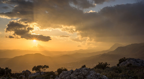Big Country. Dramatic winter sunset in the Axarquia mountains