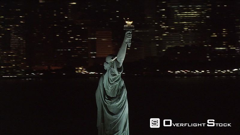 Flying around Statue of Liberty at night