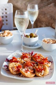 Typical friselle with fresh tomatoes, Salento, Apulia, Italy