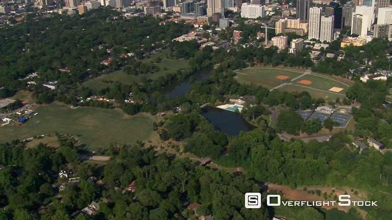 Slow flight over Piedmont Park in Atlanta, Georgia.