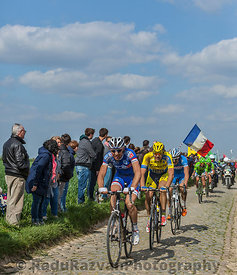 Group of Three Cyclists- Paris-Roubaix 2014