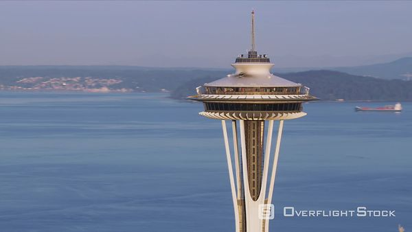 Seattle, Washington Aerial view Space Needle and Puget Sound.  Shot with Cineflex and RED EpicW Helium.