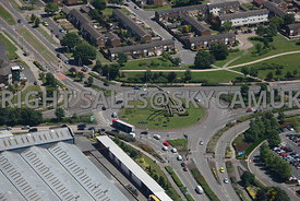 Birmingham aerial photograph of the monument to the Spitfire fighter aircraft built in Castle Bromwich Spitfire Island Castle Bromwich
