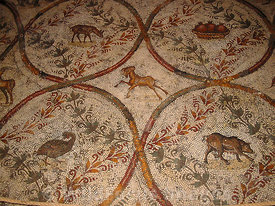 Roman Mosaic depicting animals, Bardo Museum, Tunisia, Landscape