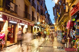 Pedestrian street in the old town, at night, San Sebastian, Spain