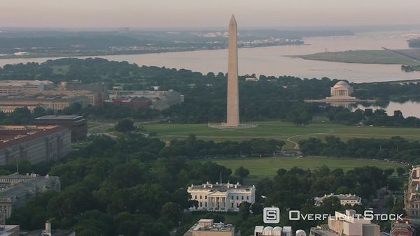 Washington, D.C. Aerial view of White House, Washington Monument and Jefferson Memorial.  Shot with Cineflex and RED EpicW Helium.