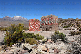 Coloured adobe chulpas in Rio Lauca valley , Poquintica volcano in background , Bolivia