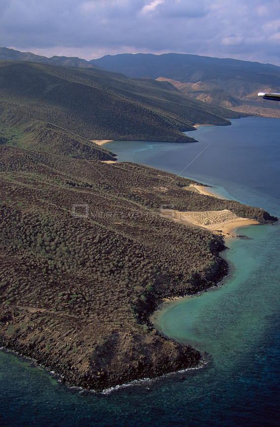 Aerial view of ragged desolate coastline of Djibouti, at entrance to Red Sea, East Africa
