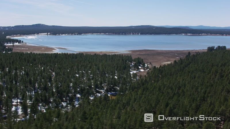Aerial view of lake and trees in winter, Nevada