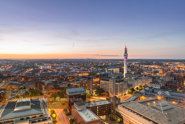 A night view of Birmingham city centre at night.