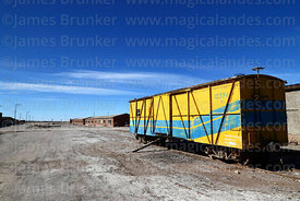 Wagon in railway station at Colchani, near Uyuni, Bolivia