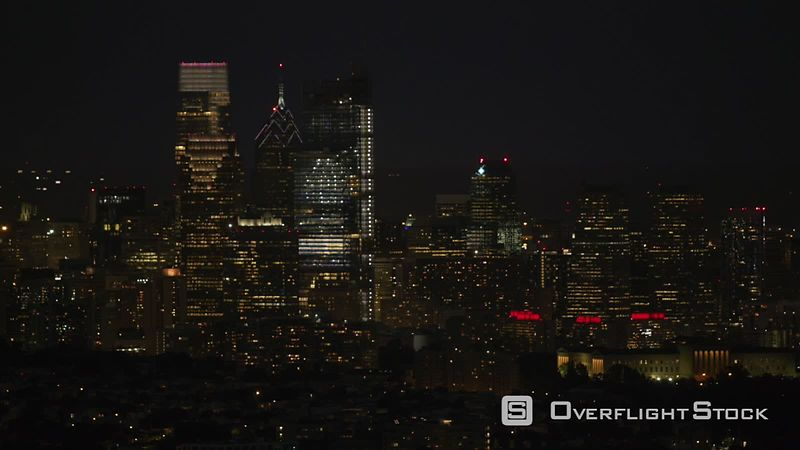 Philadelphia, Pennsylvania Night aerial view of downtown Philadelphia buildings.  Shot with Cineflex and RED EpicW Helium.