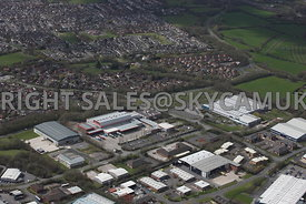 Fulwood Preston Lancashire aerial photograph of a large industrial estate home of the Lancashire Evening Post news paper and printers