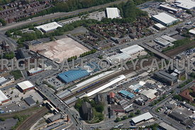 Bolton aerial photograph of development site of old factories on Manchester Road and Grosvenor Street and Gorton Street and the Central Retail Park