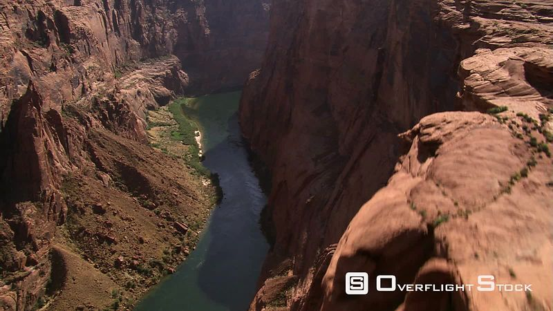 Looking down onto Colorado River flowing through deep canyon